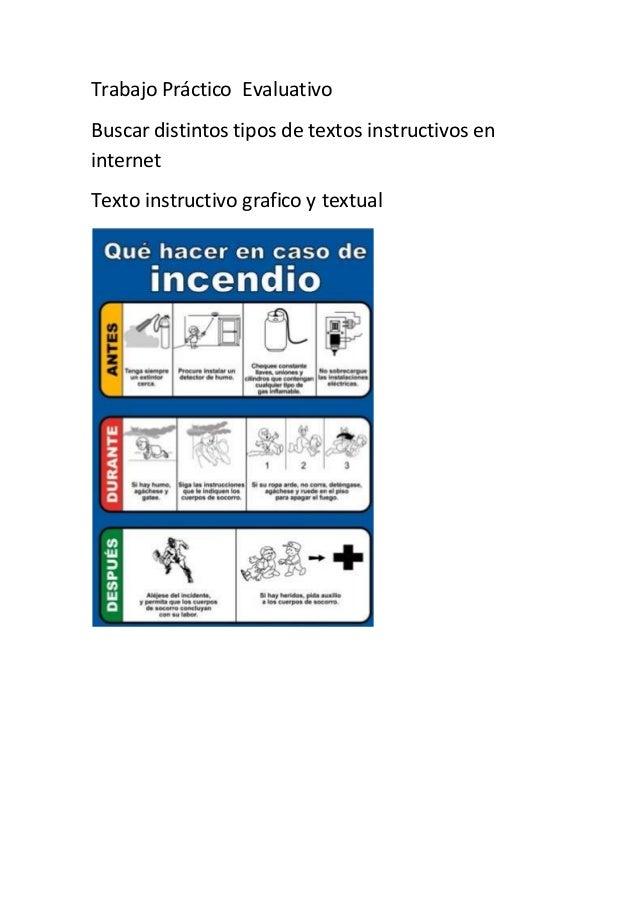 Trabajo Práctico Evaluativo Buscar distintos tipos de textos instructivos en internet Texto instructivo grafico y textual