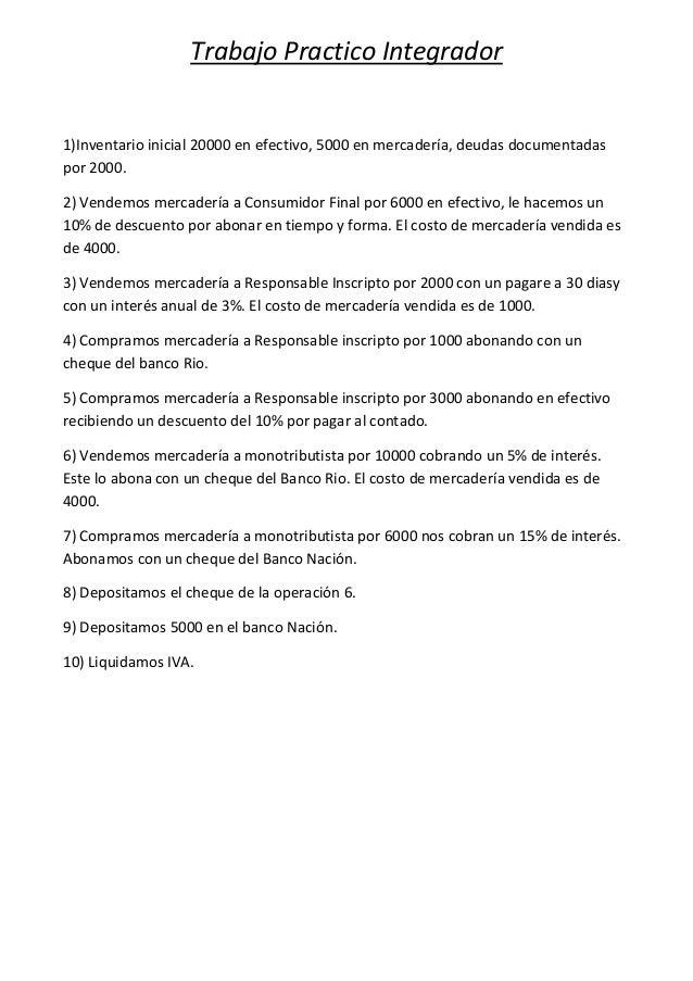 Trabajo Practico Integrador1)Inventario inicial 20000 en efectivo, 5000 en mercadería, deudas documentadaspor 2000.2) Vend...