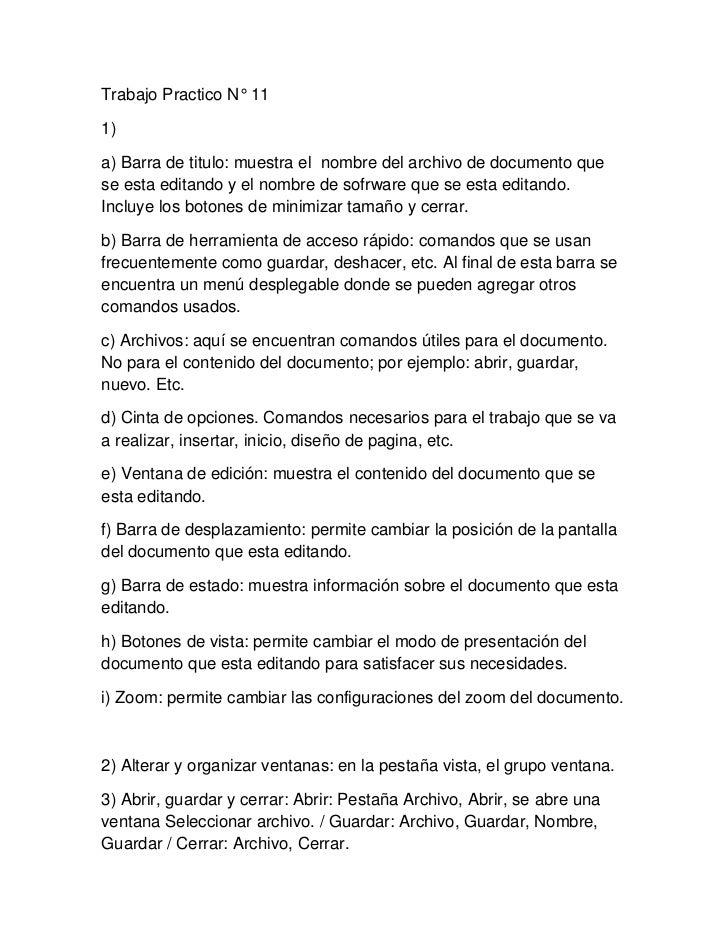 Trabajo Practico N° 111)a) Barra de titulo: muestra el nombre del archivo de documento quese esta editando y el nombre de ...