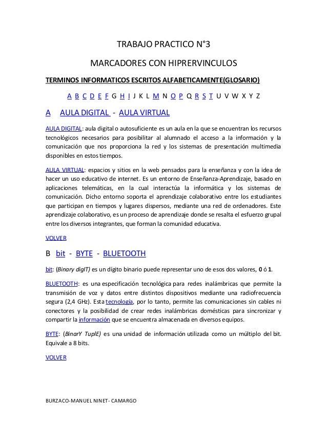 TRABAJO PRACTICO N°3MARCADORES CON HIPRERVINCULOSTERMINOS INFORMATICOS ESCRITOS ALFABETICAMENTE(GLOSARIO)A B C D E F G H I...