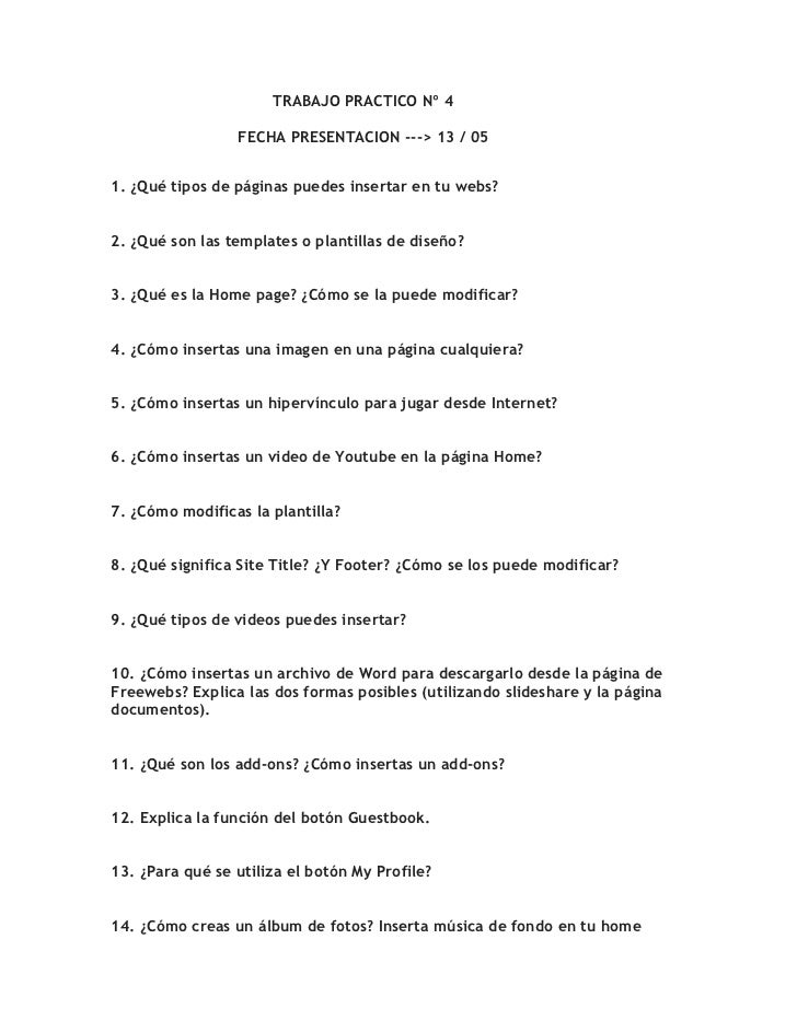 TRABAJO PRACTICO Nº 4                            FECHA PRESENTACION --->...