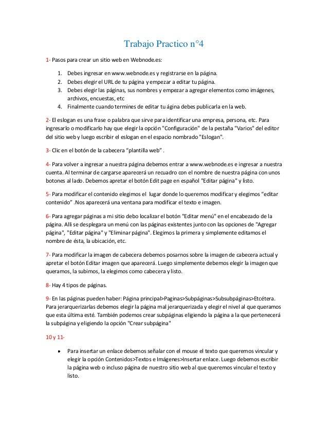 Trabajo Practico n°41- Pasos para crear un sitio web en Webnode.es:     1. Debes ingresar en www.webnode.es y registrarse ...