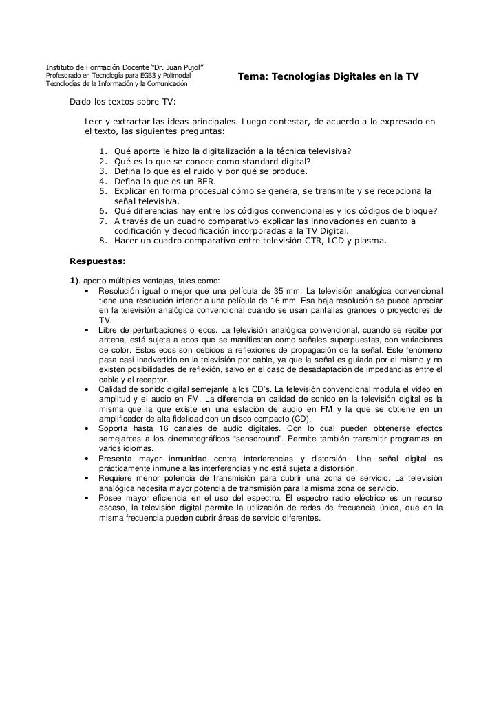 """Instituto de Formación Docente """"Dr. Juan Pujol""""Profesorado en Tecnología para EGB3 y Polimodal     Tema: Tecnologías Digit..."""