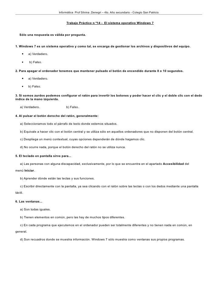 Informática Prof Silvina .Denegri – 4to. Año secundario - Colegio San Patricio                                    Trabajo ...