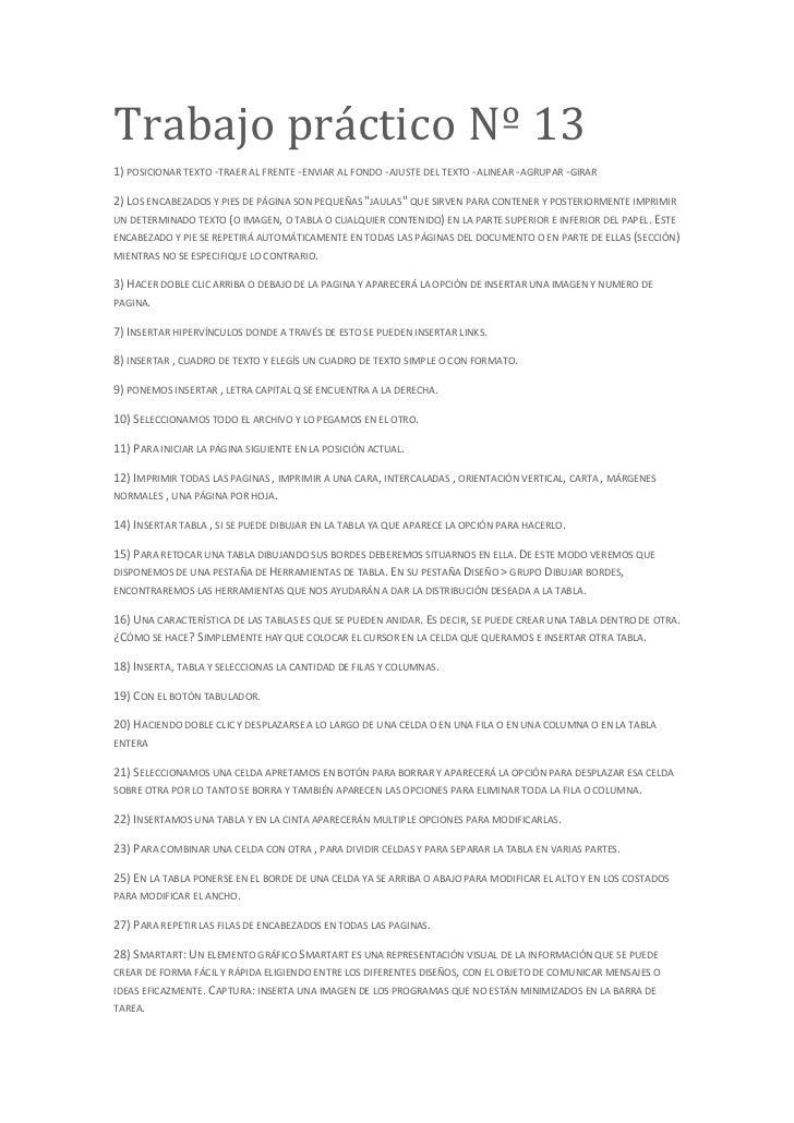 Trabajo práctico Nº 131) POSICIONAR TEXTO -TRAER AL FRENTE -ENVIAR AL FONDO -AJUSTE DEL TEXTO -ALINEAR -AGRUPAR -GIRAR2) L...