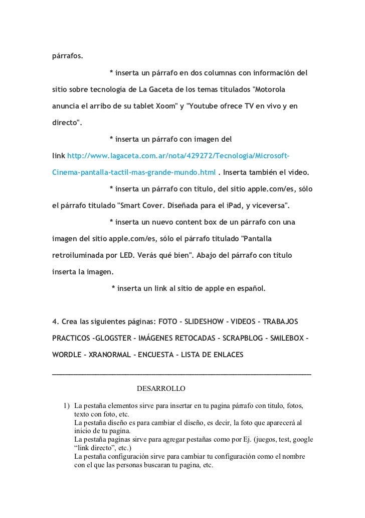 párrafos.                  * inserta un párrafo en dos columnas con información delsitio sobre tecnología de La Gaceta de ...
