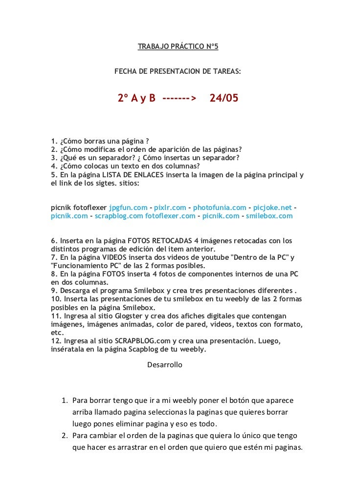 TRABAJO PRÁCTICO Nº5<br />FECHA DE PRESENTACION DE TAREAS:<br />2º A y B ------->  24/05<br />1. ¿Cómo borras una págin...