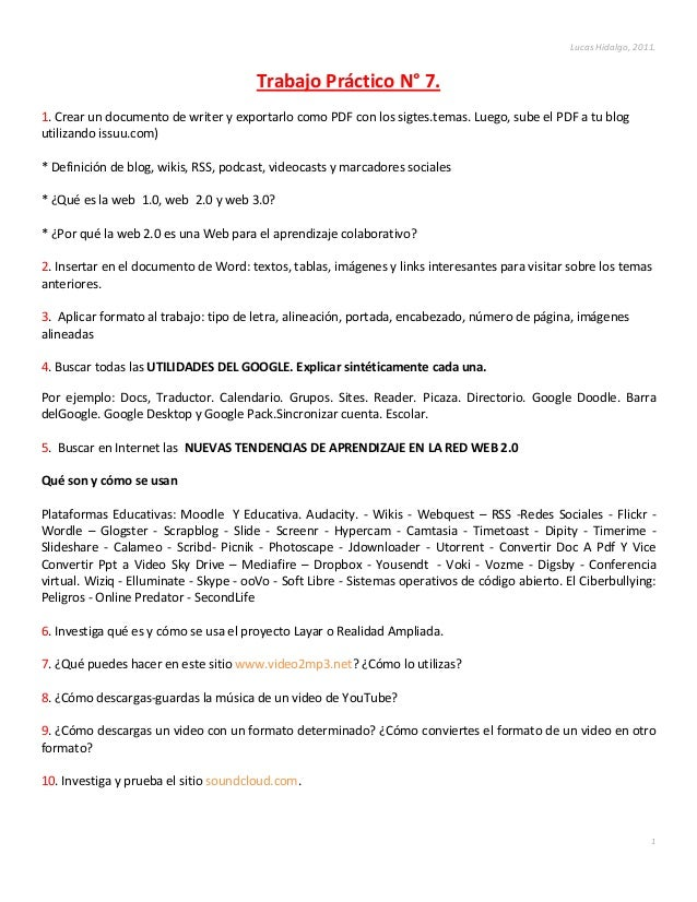 Lucas Hidalgo, 2011.                                       Trabajo Práctico N° 7.1. Crear un documento de writer y exporta...