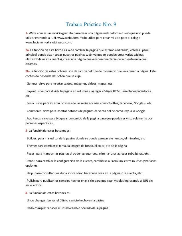 Trabajo Práctico Nro. 91- Webs.com es un servicio gratuito para crear una página web o dominio web que uno puedeutilizar e...