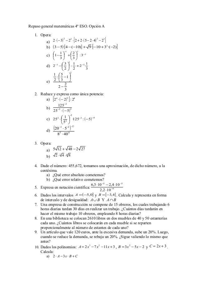 Trabajo repaso general matemáticas 4º eso