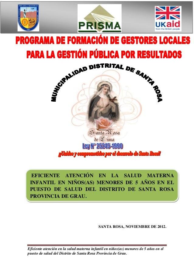EFICIENTE ATENCIÓN EN LA SALUD MATERNA INFANTIL EN NIÑOS(AS) MENORES DE 5 AÑOS EN EL PUESTO DE SALUD DEL DISTRITO DE SANTA...