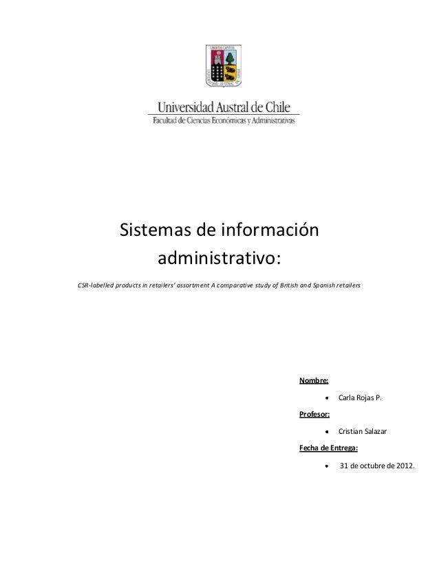 Sistemas de información                   administrativo:CSR-labelled products in retailers' assortment A comparative stud...