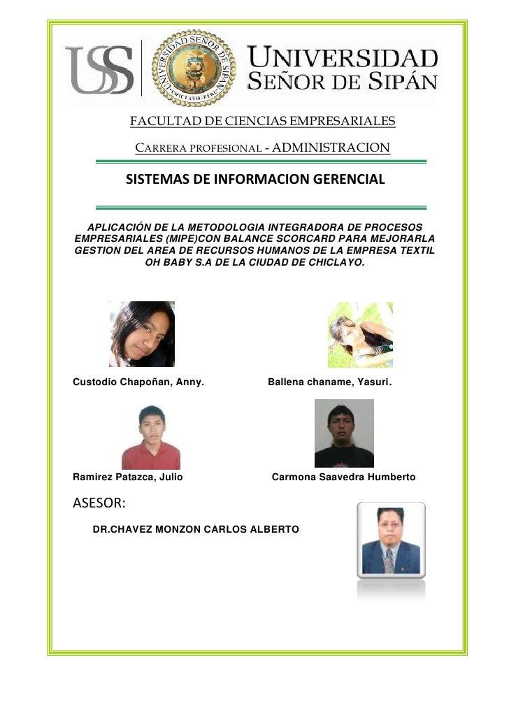 FACULTAD DE CIENCIAS EMPRESARIALESCarrera profesional - ADMINISTRACION<br />                         SISTEMAS DE INFORMACI...