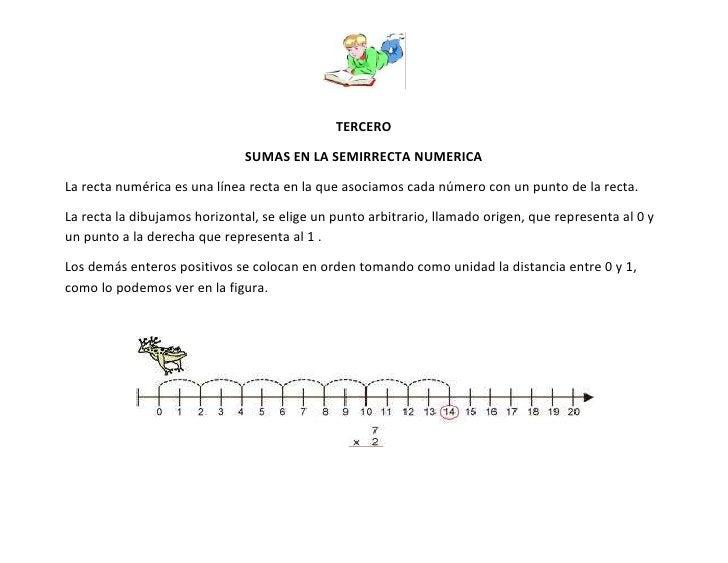 TERCERO                              SUMAS EN LA SEMIRRECTA NUMERICALa recta numérica es una línea recta en la que asociam...
