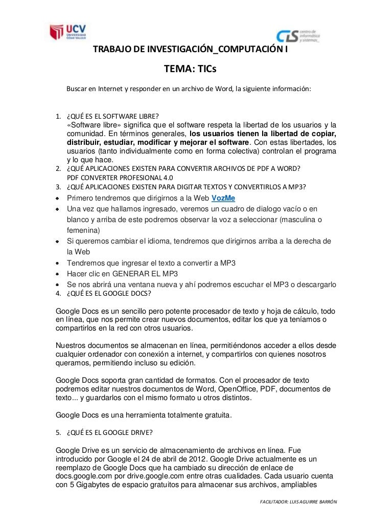 TRABAJO DE INVESTIGACIÓN_COMPUTACIÓN I                                  TEMA: TICs   Buscar en Internet y responder en un ...