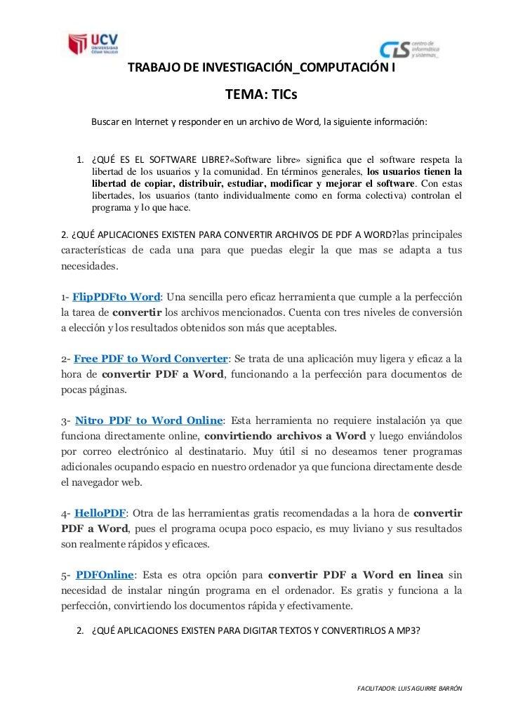 TRABAJO DE INVESTIGACIÓN_COMPUTACIÓN I                                     TEMA: TICs      Buscar en Internet y responder ...