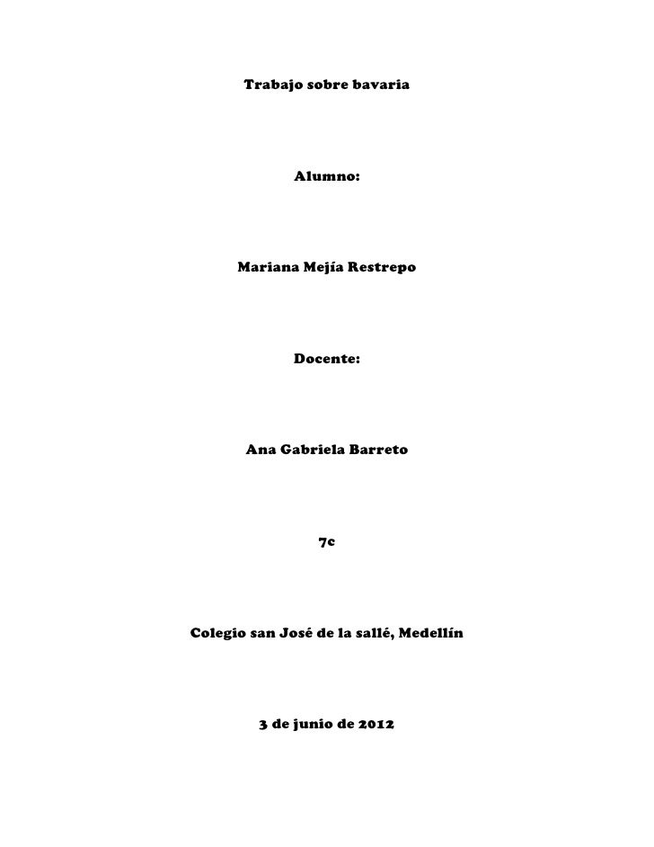 Trabajo sobre bavaria              Alumno:      Mariana Mejía Restrepo              Docente:       Ana Gabriela Barreto   ...