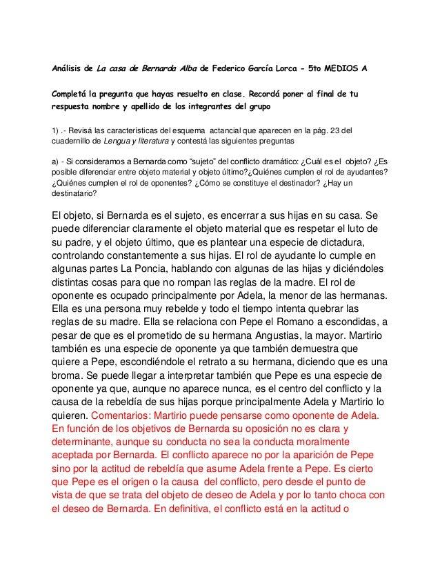 Trabajo sobre bernarda alba y los conceptos de g nero - Preguntas y respuestas de la casa de bernarda alba ...