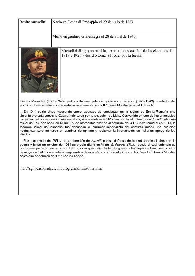 Benito mussolini Nacio en Dovia di Predappio el 29 de julio de 1883Murió en giuilino di mezzegra el 28 de abril de 1945Mus...