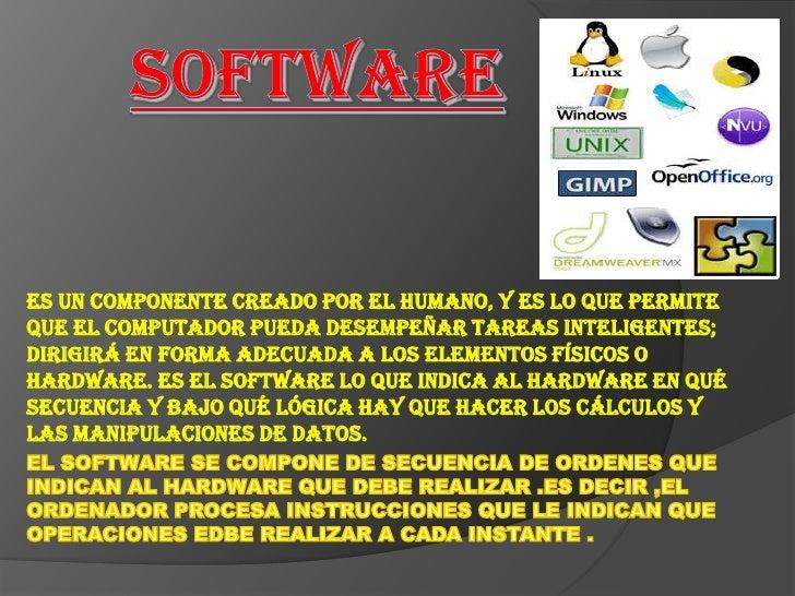 Software <br />Es un componente creado por el humano, y es lo que permite que el computador pueda desempeñar tareas inteli...