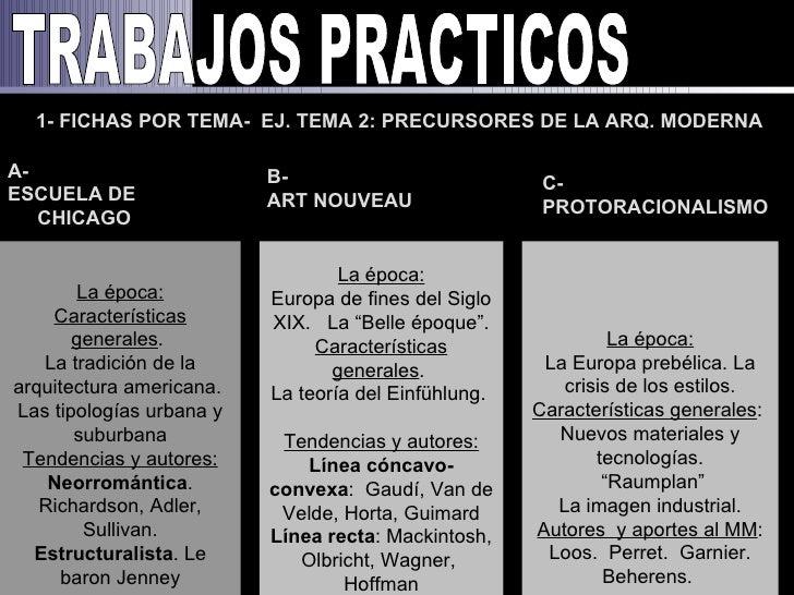 1- FICHAS POR TEMA- EJ. TEMA 2: PRECURSORES DE LA ARQ. MODERNAA-                        B-                           C-ESC...