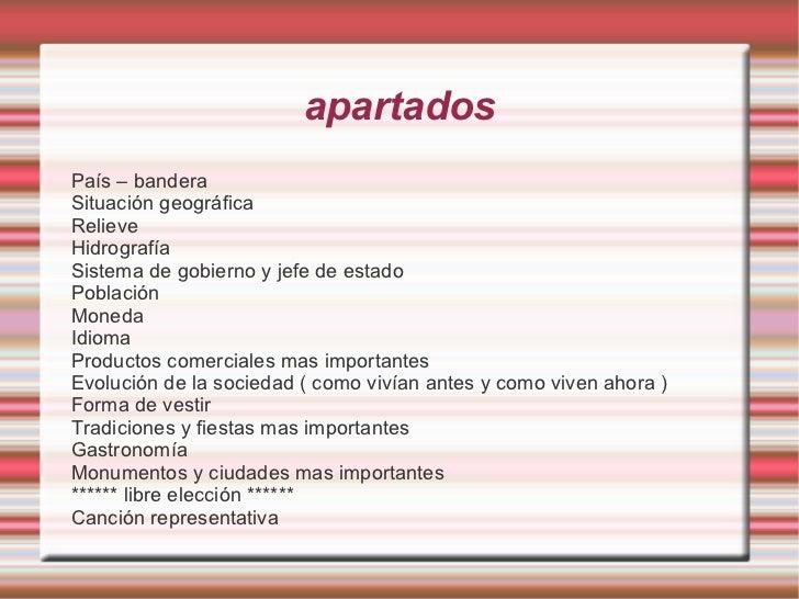 apartados <ul><li>País – bandera </li></ul><ul><li>Situación geográfica </li></ul><ul><li>Relieve </li></ul><ul><li>Hidrog...