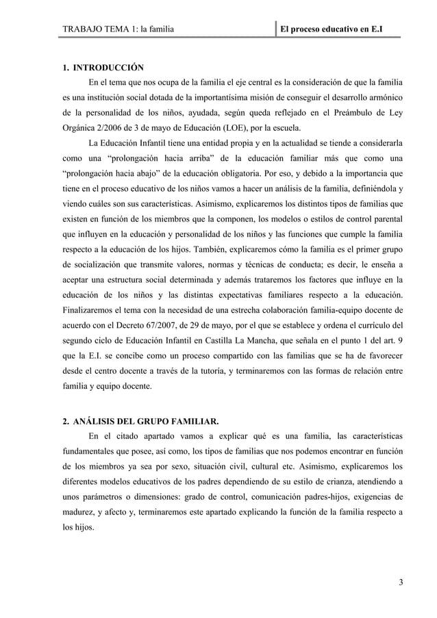TRABAJO TEMA 1: la familia                                     El proceso educativo en E.I1. INTRODUCCIÓN        En el tem...