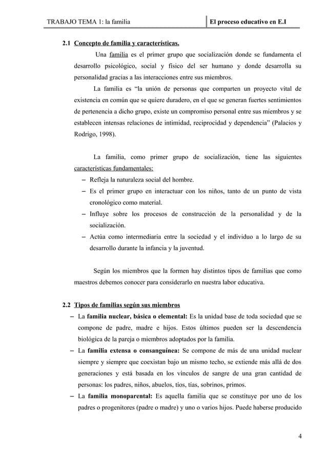 TRABAJO TEMA 1: la familia                                   El proceso educativo en E.I    2.1 Concepto de familia y cara...