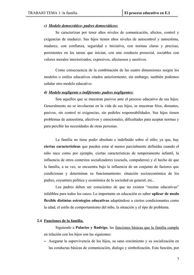 TRABAJO TEMA 1: la familia                                  El proceso educativo en E.I        c) Modelo democrático- padr...