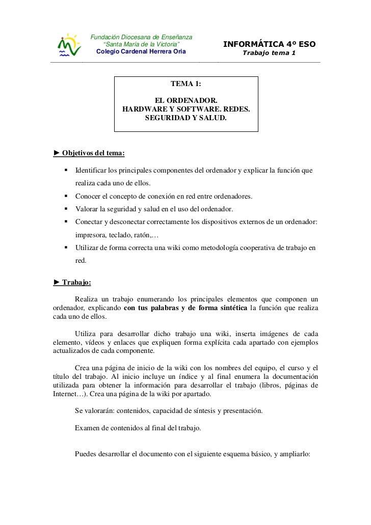 """Fundación Diocesana de Enseñanza                  """"Santa María de la Victoria""""          INFORMÁTICA 4º ESO                ..."""