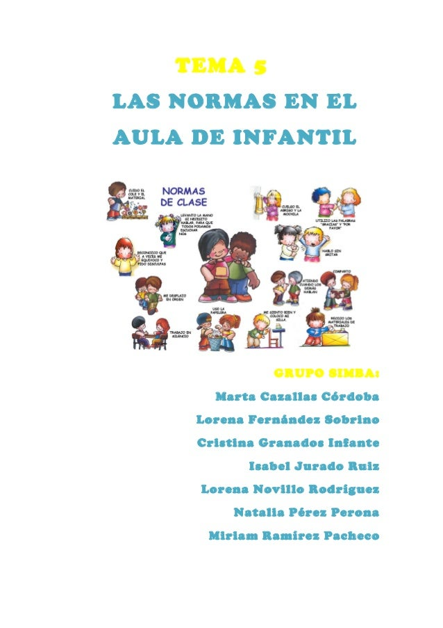 TEMA 5LAS NORMAS EN ELAULA DE INFANTIL               GRUPO SIMBA:       Marta Cazallas Córdoba     Lorena Fernández Sobrin...