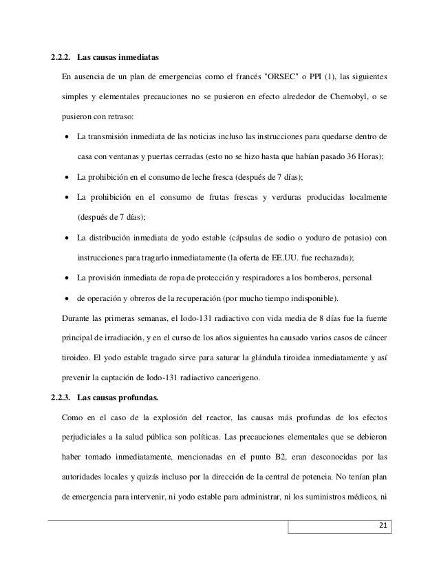 """2.2.2. Las causas inmediatas En ausencia de un plan de emergencias como el francés """"ORSEC"""" o PPI (1), las siguientes simpl..."""