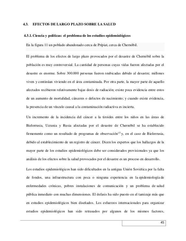 4.3.  EFECTOS DE LARGO PLAZO SOBRE LA SALUD  4.3.1. Ciencia y políticas: el problema de los estudios epidemiológicos En la...