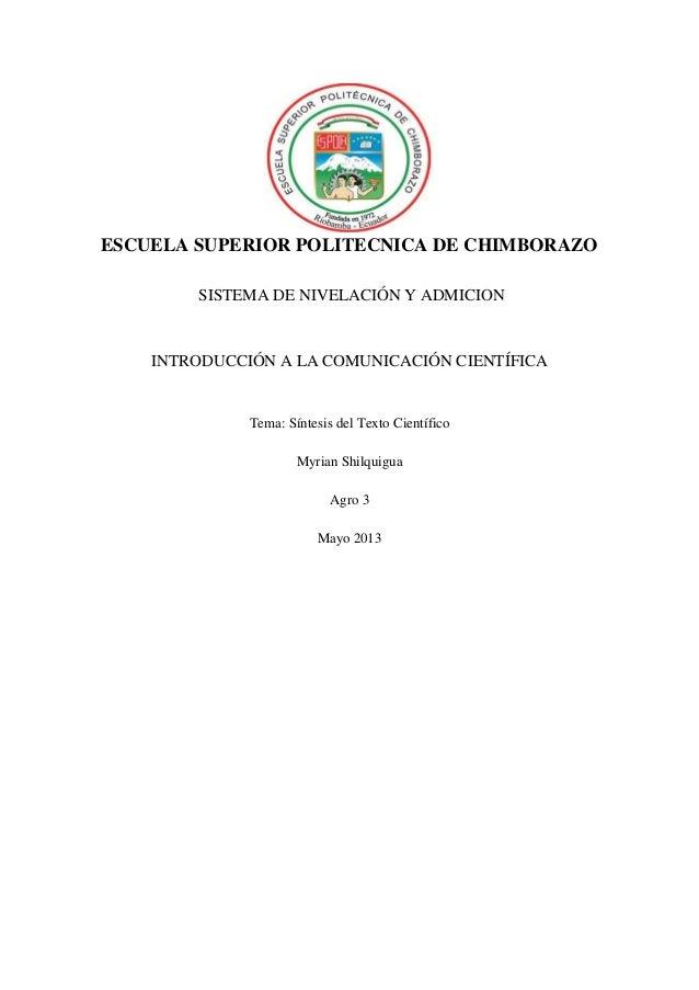 ESCUELA SUPERIOR POLITECNICA DE CHIMBORAZOSISTEMA DE NIVELACIÓN Y ADMICIONINTRODUCCIÓN A LA COMUNICACIÓN CIENTÍFICATema: S...