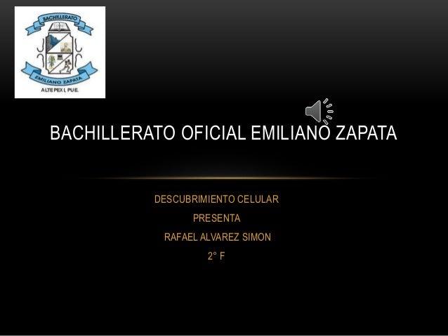 DESCUBRIMIENTO CELULAR PRESENTA RAFAEL ALVAREZ SIMON 2° F BACHILLERATO OFICIAL EMILIANO ZAPATA