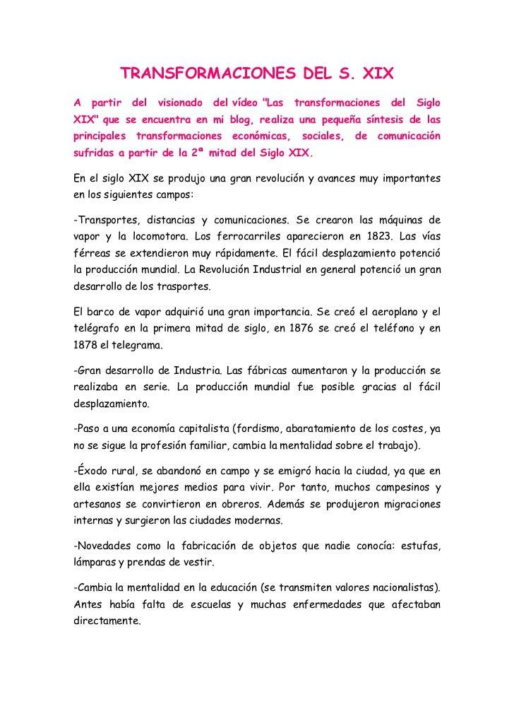 """TRANSFORMACIONES DEL S. XIXA   partir    del   visionado   del vídeo """"Las   transformaciones    del   SigloXIX"""" que se enc..."""