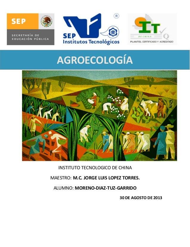 AGROECOLOGÍA  NTRODUCCIÓN A LA AGROECOLOGÍA  INSTITUTO TECNOLOGICO DE CHINA MAESTRO: M.C. JORGE LUIS LOPEZ TORRES. ALUMNO:...