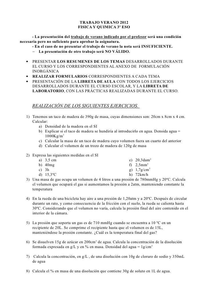 TRABAJO VERANO 2012                                 FISICA Y QUIMICA 3º ESO      - La presentación del trabajo de verano i...