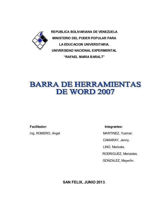 REPUBLICA BOLIVARIANA DE VENEZUELA MINISTERIO DEL PODER POPULAR PARA LA EDUCACION UNIVERSITARIA. UNIVERSIDAD NACIONAL EXPE...