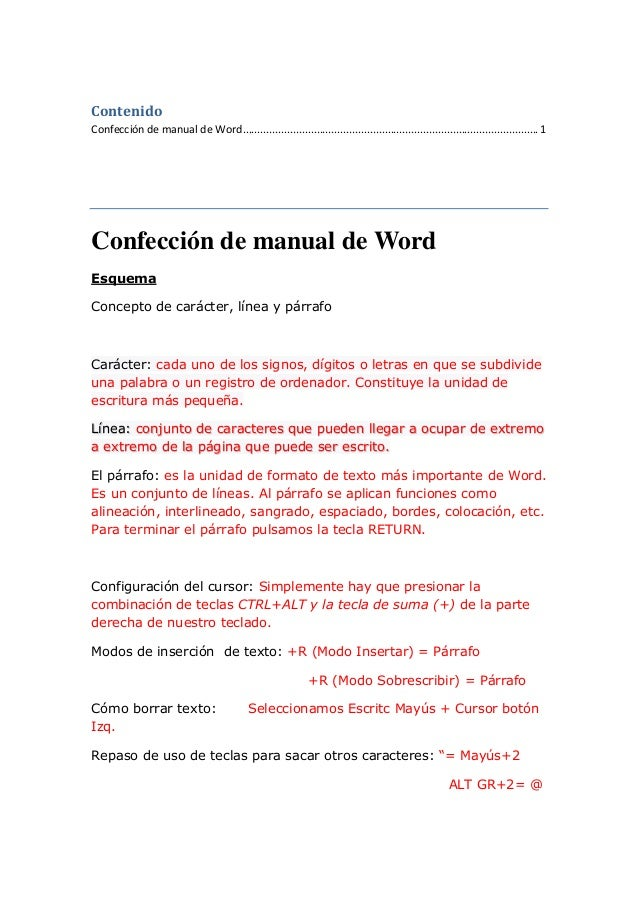 Contenido Confección de manual de Word ......................................................................................