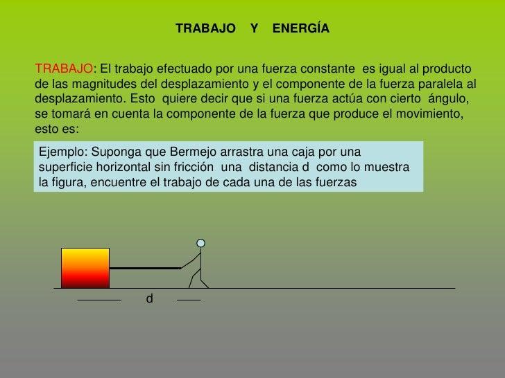 TRABAJO    Y    ENERGÍA<br />TRABAJO: El trabajo efectuado por una fuerza constante  es igual al producto de las magnitude...