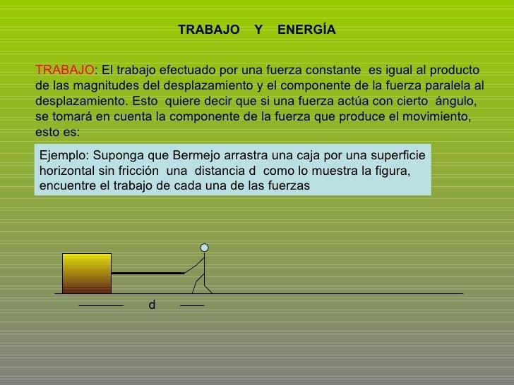 TRABAJO  Y  ENERGÍA TRABAJO : El trabajo efectuado por una fuerza constante  es igual al producto de las magnitudes del de...