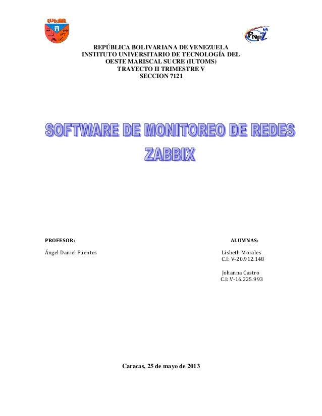 REPÚBLICA BOLIVARIANA DE VENEZUELA INSTITUTO UNIVERSITARIO DE TECNOLOGÍA DEL OESTE MARISCAL SUCRE (IUTOMS) TRAYECTO II TRI...