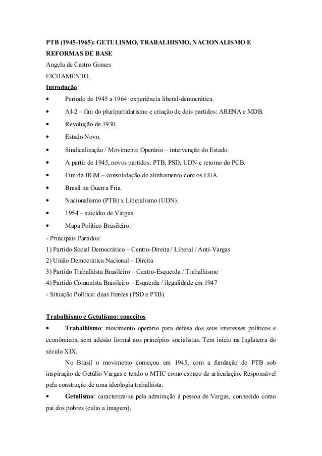 PTB (1945-1965): GETULISMO, TRABALHISMO, NACIONALISMO E  REFORMAS DE BASE  Angela de Castro Gomes  FICHAMENTO.  Introdução...