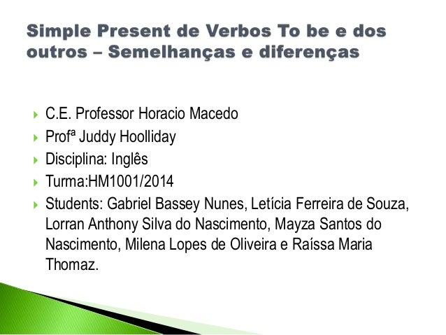  C.E. Professor Horacio Macedo  Profª Juddy Hoolliday  Disciplina: Inglês  Turma:HM1001/2014  Students: Gabriel Basse...