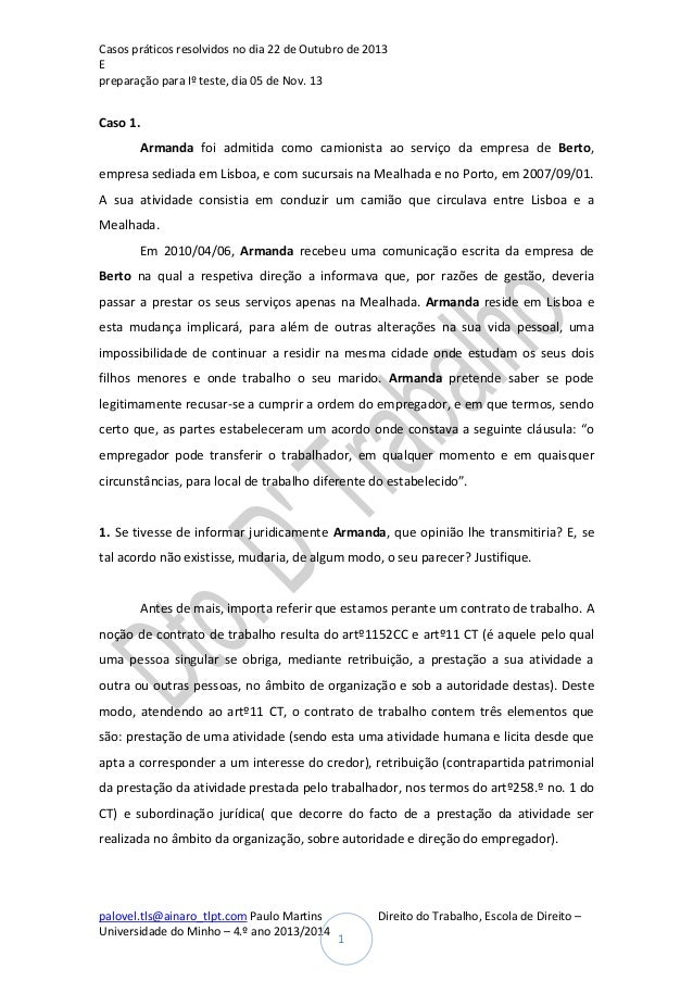 Casos práticos resolvidos no dia 22 de Outubro de 2013 E preparação para Iº teste, dia 05 de Nov. 13  Caso 1. Armanda foi ...