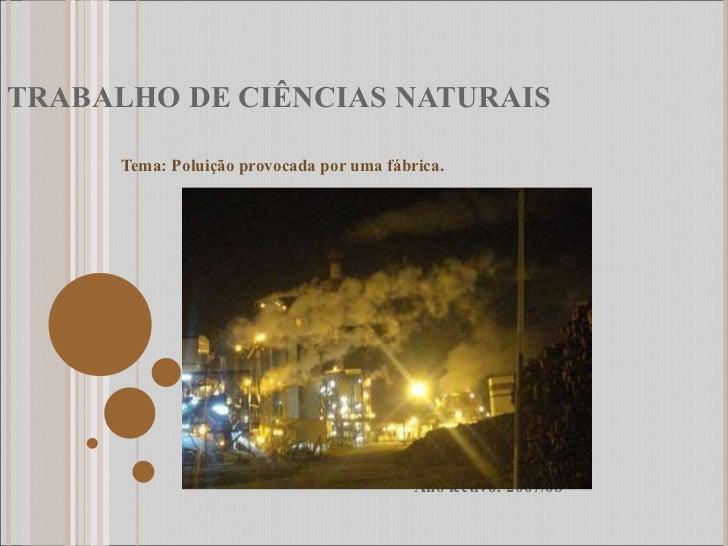 TRABALHO DE CIÊNCIAS NATURAIS Tema: Poluição provocada por uma fábrica. Ano lectivo: 2007/08