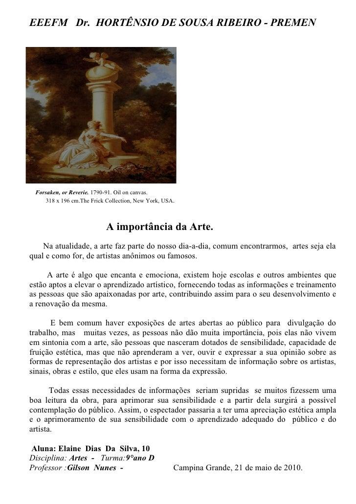 EEEFM Dr. HORTÊNSIO DE SOUSA RIBEIRO - PREMEN      Forsaken, or Reverie. 1790-91. Oil on canvas.      318 x 196 cm.The Fri...