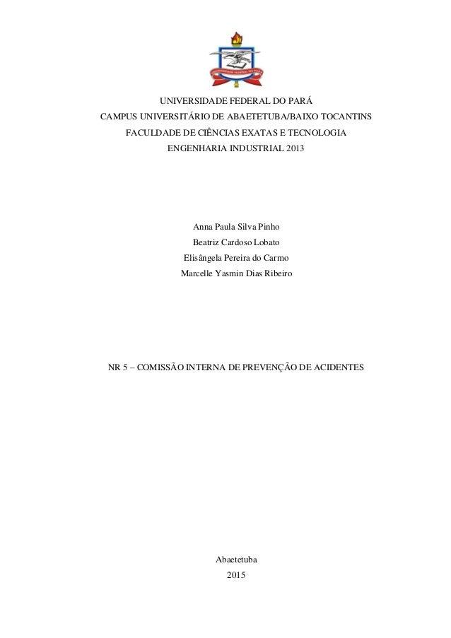UNIVERSIDADE FEDERAL DO PARÁ CAMPUS UNIVERSITÁRIO DE ABAETETUBA/BAIXO TOCANTINS FACULDADE DE CIÊNCIAS EXATAS E TECNOLOGIA ...