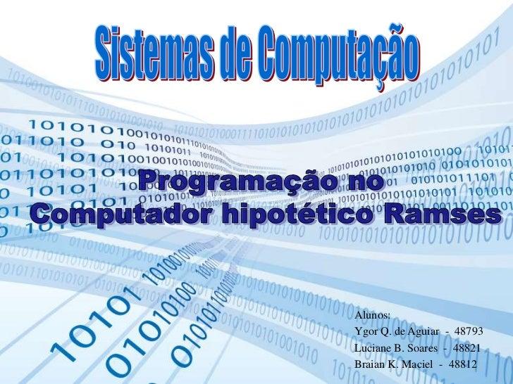 Alunos:Ygor Q. de Aguiar - 48793Luciane B. Soares - 48821Braian K. Maciel - 48812